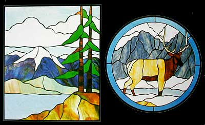 CKE-109 Elk/Mountain Lake (Stained Glass Full Size Patterns)