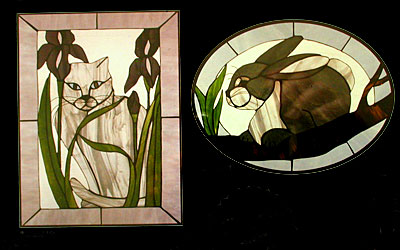 CKE-112 Cat and Iris/Cottontail (Stained Glass Full Size Patterns)