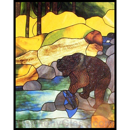 CKE-36 Bear Fishing (Stained Glass Full Size Patterns)