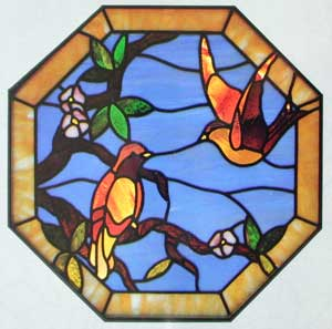 CKE-58 Bird And Flower (Stained Glass Full Size Patterns)