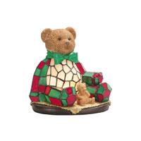 DEL TIFFANY Christmas Noel Bear Art Glass Accent Lamp
