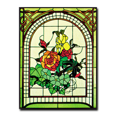 CKE-63 Arched Floral (Stained Glass Full Size Patterns)