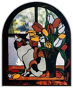 CKE-68 Calico And Tulips (Stained Glass Full Size Patterns)